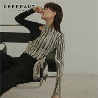 Cheerart Designer T Foots для женщин Сексуальные полые женские женские футболки пэчворк с длинным рукавом футболка Femme верхнее белье 210322