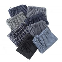 Men's Sleepwear Spring Autumn 100% Cotton Sleep Bottoms Mens Simple Pants For Male Casual Plaid Home Trousers