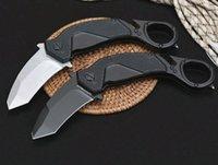 최고 품질 플리퍼 접이식 발톱 나이프 N690 검은 티타늄 코팅 / 흰색 석재 워시 블레이드 알루미늄 핸들 Karambit 나이프