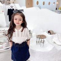 Summer Kids Girls Camisa de manga corta + Falda Denim 2 unids / Sets Baby Girls T Shirt Traje Trajes para niños