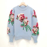 819 2021 Autumn Brand Same Style Sweaters Regular Long Sleeve Crew Neck Long Pullover Blue Embroidery Women Clothes niu