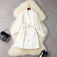 2021 Autumn Winter Long Sleeve Notched-Lapel Ivory Solid Color Panelled Belted Sequins Double-Breasted Blazers Dress Elegant Casual Dresses 21S1612650