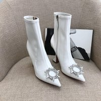 Amina Muaddi white patent Ankle boots Sun buckled Cubic stiletto heel pointed toes Side zipper leather sole Booties for women luxury designer shoes factory footwear