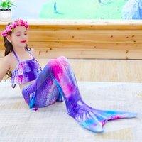 Çocuk Mermaid Yüzme Suit 3 adet Mermaid Kuyrukları Swimmable Mayo Mermaid Kostüm Giysi Mayo Kız Çocuklar Için Bikini Setleri 574 X2