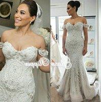 2016 Elegant Beaded Appliques Wedding Dresses Mermaid Off the Shoulder Sleeveless Chapel Train Sexy Back Bridal Gowns