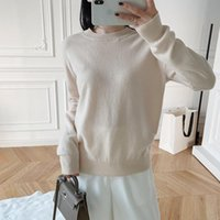 Women's Thin Knit Sweater O-neck Solid Color Simple Casual Long Sleeve Early Autumn Knitted Tops Sweaters