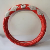 Steering Wheel Covers Luxury Diamond Crown Leather Car With Crystal Rhinestones PU Covered For Girls Interior Accessories