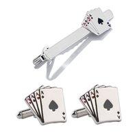 4 A Poling Playing Design Design Pin clip Polsino Collegamenti in lega di zinco Gemelli in metallo Clip Tie Tie Set per uomini Padri Giorno Regalo