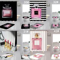 Stilvolles Brief gedruckt Duschvorhänge Home Decor Bath Matten Wasserdichte Badezimmer Vorhang Toilettensitze Abdeckung Set