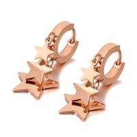 Hoop & Huggie Design Titanium Stainless Steel Bohemia CZ Crystal Star Earrings For Women Trendy Rose Gold E20247