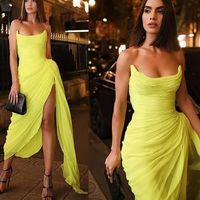 2021 Plus Size Arabic Aso Ebi Yellow Stylish Sexy Prom Dresses Ruffles Chiffon High Split Evening Formal Party Second Reception Bridesmaid Gowns Dress ZJ223