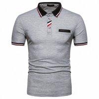 IEF.G. كود يورو الرجال الصيف الأزياء شريطية الأعمال عارضة قصيرة الأكمام جيب التلبيب قميص D9H3 #