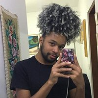 Black men women Gray human hair Pineapple ponytail extension silver grey kinky curly afro puff Donut Chignon Hairpieces with drawstring 100g120g140g