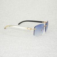 Ancient Natural Wood Oversize Sunglasses Men Black White Buffalo Horn Shades Rimless Wooden Eyewear for Driving Club Oculos Gafa US up 60% Off