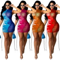 Hit Color Slim Mini Dress Beach Cover- Ups Mesh Sheer See Thr...