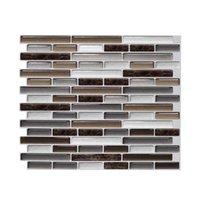 Självhäftande mosaikplattor 3D-väggdekal Klistermärke DIY Kök Badrum Heminredning Vinylskal och pinne Blandat brunt Marmor 1 ark Q0723