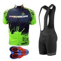 Ciclismo Manica corta Jersey Men Merida Team Traspirante MTB Bib Bib Shorts Suit Sale Bicycle Uniform Sportswear all'aperto Y090403