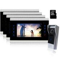 Homefong 10 بوصة باب الفيديو إنترفون الهاتف تسجيل جرس الباب كاميرا HD الشاشة دعم 4 إلى 1 هواتف