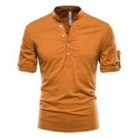Negizber Stand Colarinho T-shirt Homens Cor Sólida 100% Algodão Manga Médio Homens Camisetas Verão Qualidade Casual Camiseta Masculino 210319