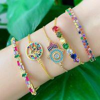Charm Bracelets 2021 Rainbow CZ Gold Bracelet Women Tree Of Life Charka Hamsa Hand Cubic Zirconia Adjustable Chain Pulsera