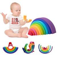 10 قطع rainbow sily لعب الطفل جديد وصول مونتيسوري قوس قزح اللبنات sile jenga لعبة ألعاب تعليمية مبكرة X0503