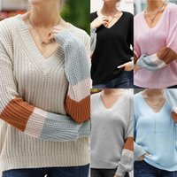 Women's Sweaters V Neck Striped Patchwork Sleeve Knit Sweater Women Loose Pullover Fall And Pullovers