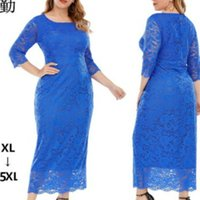 5XL-XL Autumn Fashion African Women O-neck Polyester Plus Size Long Dress Clothing Dresses For Ethnic