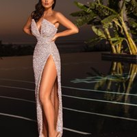 2021 Sequined Split Evening Dresses with Detachable Train Champagne Beads Mermaid Prom Gowns Lace Applique Luxury Party Dress Robes De Soirée