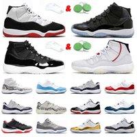 Top Quality Jumpman 11 11s Sapatos de Basquete Homens Mulheres Mulher Designer 25º Aniversário Espaço J Am Platinum Tint Retro High White Criado Sapatilhas