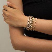 Charm Bracelets Punk Iced Out Curb Cuban Chain Set For Women Hip-Hop Miami Boho Thick Gold Color Bracelet Bangle Fashion Jewelry