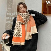 high quality autumn and winter new color matching imitation cashmere women's double-sided thickened air conditioning shawl with student scarf