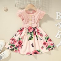 Girl's Dresses Toddler Kids Baby Girls Sleeve Casual Bow Ribbed Floral Dress Party Princess Summer Vest Vestidos De Verano