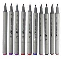 الجملة -10 لون الجسم فن الوشم العرض القلم تلميح مزدوج نهاية الجلد ماركر علامة مسطحة / سميكة أحبار القلم 1