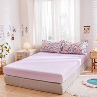Sheets & Sets Single Double Cotton Fitted Sheet Mattress Cover Four Corners With Elastic Bedspread Home Bed Twin Full Queen Lining