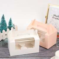 1 unids Kraft Caja de regalo Cake West Point Post Pink Blue Embalaje Papel Taza Partido Boda Cartón portátil 16.5 * 9.3 9cm Wrap