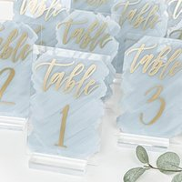 Plexiglass Wedding Table Number Acrylic Sign Gold Foil Calligraphy Numbers With Stand Painted Back Signs Party Decoration