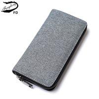 Portefeuilles Fengdong Hommes Longue Style ID titulaire mâle Coin sac à main Zipper de grande capacité Tissu Portefeuille minimaliste pour