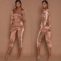 Women Tracksuits Spring Summer Sports Clothing Sets Short Stripes Sports Jackets Crop Pants 2pcs Suits Slim Fits Casual Outfits