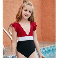2021 Büyük Kızlar Renk Eşleştirme Mayo Çocuklar Derin V Yaka Bikini Moda One Piece Mayo Yaz Çocuk Sinek Kol Mayo C6988