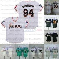 Miami Vintage Treate Baseball Jerseys 16 Jose Fernandez 94 Bad Bunny avec drapeau Porto Rica 35 Dontrelle Willis Andre Marlins