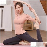 Yoga Exercise Wear Athletic Outdoor Apparel & Outdoorsyoga Outfits Suit Womens Sports T-Shirt 7   4 Sleeve Fitness Small Bra 2-Piece Cycling