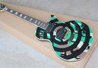 High Quality Zakk Wylde Custom Shop Camouflage Electric Guitar Black Circle Mahogany Body Neck Rosewood Fingerboard EMG Passive Pickups