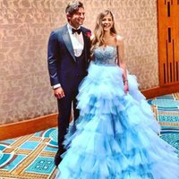 Baby Blue Tulle Tiered Ruffles Evening Dresses Sweetheart Puffy Rhinestone Prom Gown Princess Celebrity Dress