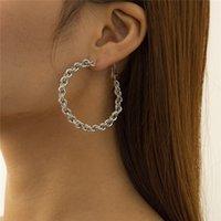 Retro Twist Weave Large Earrings Hoop Geometric Metal Circle Gold Ear Drop For Women Hip Hop Cross Round Stud Earring European Jewelry Accessories