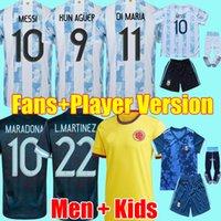 2021 Arjantin MARADONA MESSI Futbol Formaları 21 22 KUN AGÜERO DI MARIA LO CELSO MARTINEZ CORREA Futbol forması gömlek erkek çocuklar Kitleri üniformalar camiseta de futbol setleri