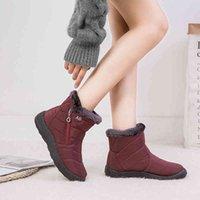 أحذية الدراجات النساء اللزمن مقاوم للماء الثلج بلوش الشتاء الدافئ الكاحل أحذية موهير زائد الحجم 43 0910