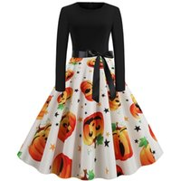 Halloween new round neck elegant party Printed Dress