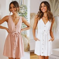 Sexy Sleeveless V-neck Homewear Dress For Women Lace Up Single-Breasted Female Casual Elegant Summer Dresses