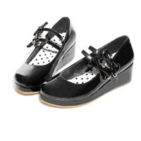 Dress Shoes COOLULU 2021 Fashion Women Wedges Mary Janes Platform Patent Leather Pumps Buckle Ladies Size 34-43