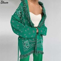 Autumn Winter V Neck Loose Print Knitted Cardigan Women Green Y2k Fashion Oversized With Sashes Long Sleeve Casual Sweater 211021